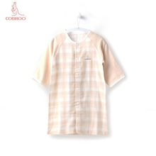 COBROO Unisex-Baby Pajamas Sleepwear with Snap Button Plaid Pattern 100% Cotton Baby Robes for Newborn 3-6 12-18 Months