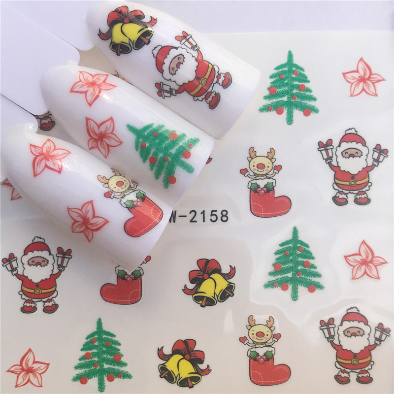 LCJ  Christmas Nail Stickers DIY Nail Art Tattoo Decals Self Adhesive Tip Stickers Decoration 3