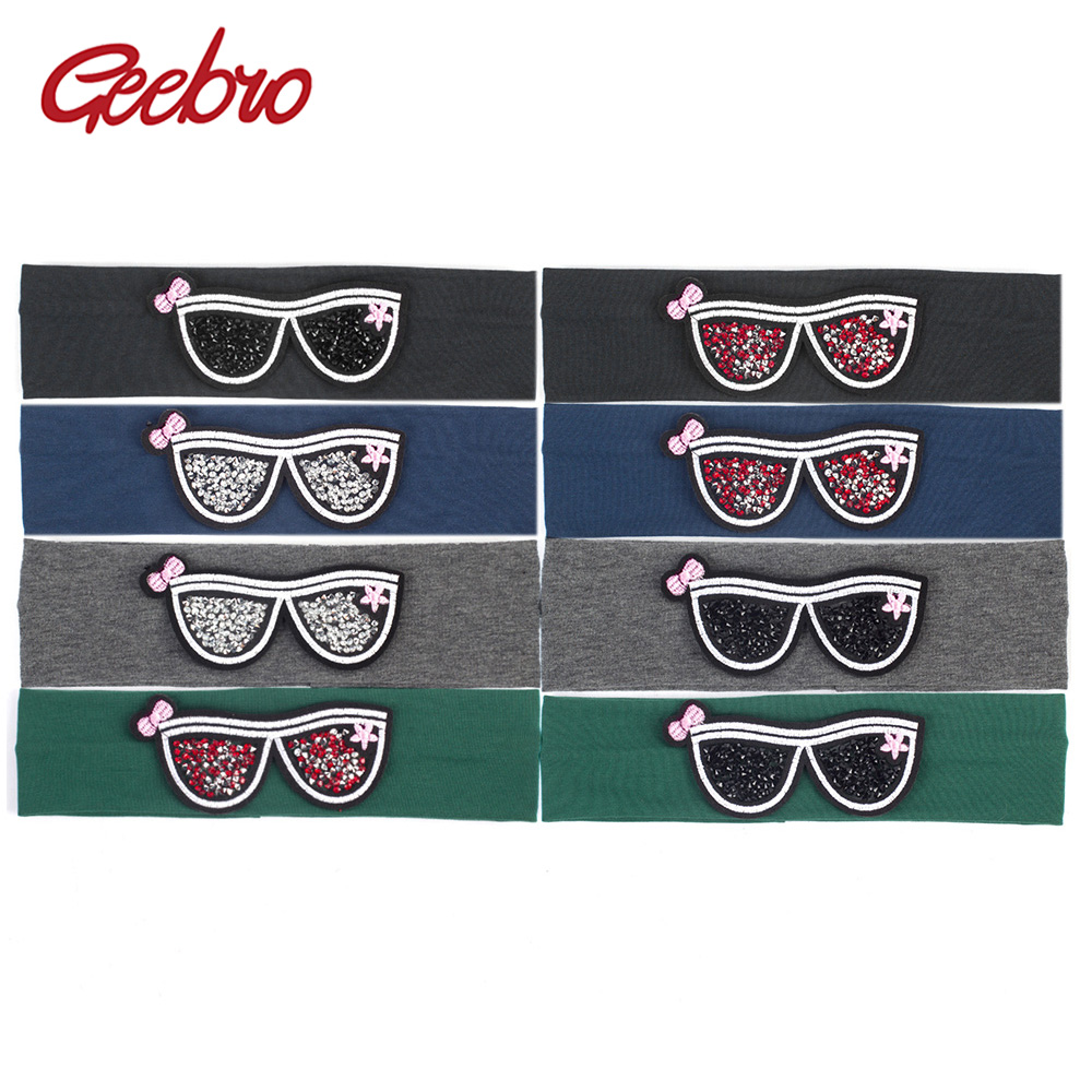 Geebro Children's Sunglasses Headband Cute Rhinestones Glasses Flat Headbands For Girls Cotton Stretch Head Band For Babies