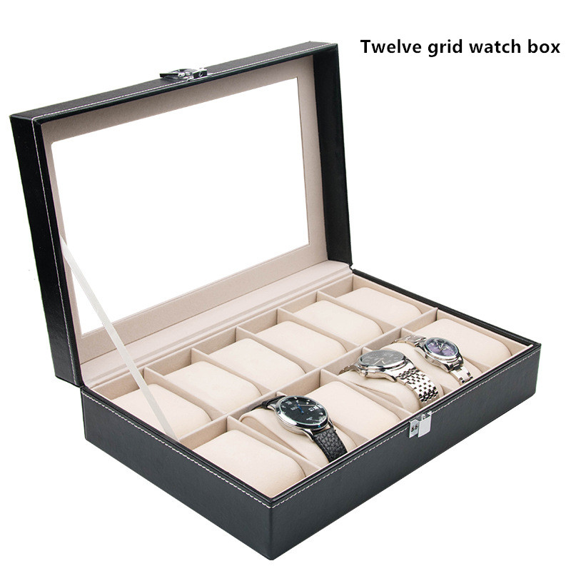 Samonica 12 Grid Slots Jewelry organizer Watches Boxes Display Storage Box Case Leather Square jewelry