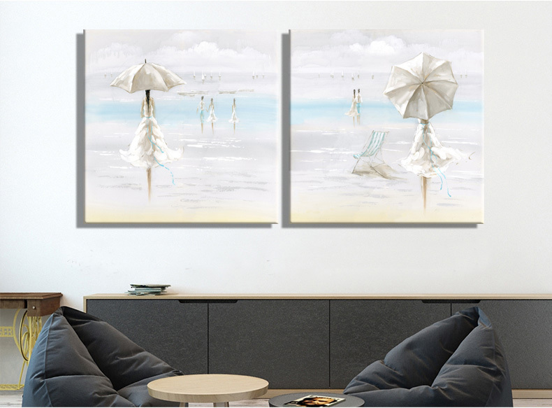 lady Wearing white dress at the beach looking the sea oil painting Seascape Home Decor Wall Painting Paintings for living room