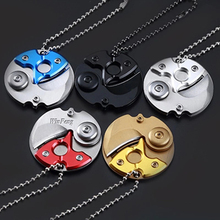 Outdoor Self Defense Weapon Camping Survival Mini Pocket Coin Folding Camping Keychain Defensa Personal Tool with Hanging Chain