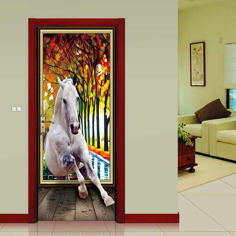 Nm04 الإبداعية وودز أبيض الحصان الممر الباب ملصقات محاكاة الزخرفية ملصقات جدار 2 قطعة/المجموعة