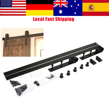 цена на 1Set Barn Sliding Wood Door Hardware Set Steel Slide Rail Antique Door Track System Black 6.6ft Top Mount Hanger Track Rail
