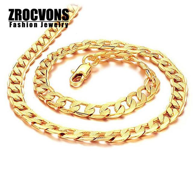 """Wholesale 2016 New Hot Sale Fashion Jewelry Chain Men's 20"""" 7mm Gold Plated 316l Stainless Steel Necklace For Men"""