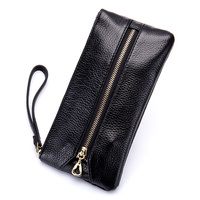 Long Unisex Key Wallets Premium Cowhide Genuine Leather Zipper Coin Purses with Hand Rope 2018 Latest Women & Men Housekeepers