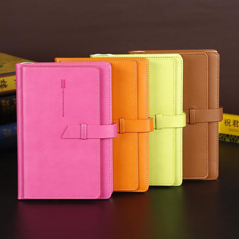 PU Leather business office notebook hardcover with hasp student notepad pen set 150*220mm 200sheets cute ladies fashion notepad a6 small business notebook retro style leather notebook office learning notes notebook comes with a pen