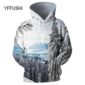 YFFUSHI 2018 New Male 3d hoodies Amazing Landscap 3d print Pullovers  Casual Loose O-Neck 3d Hooded Sweatshirts Plus Size 5XL