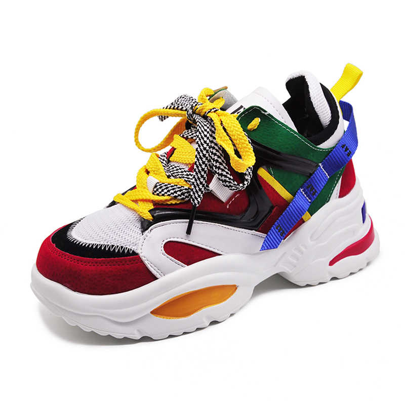 Trendy Women Sneakers Thick Sole Ladies Platform Shoes Web Celebrity Chunky  Dad Sneakers Chaussures Femme Buty 60982d2d1255
