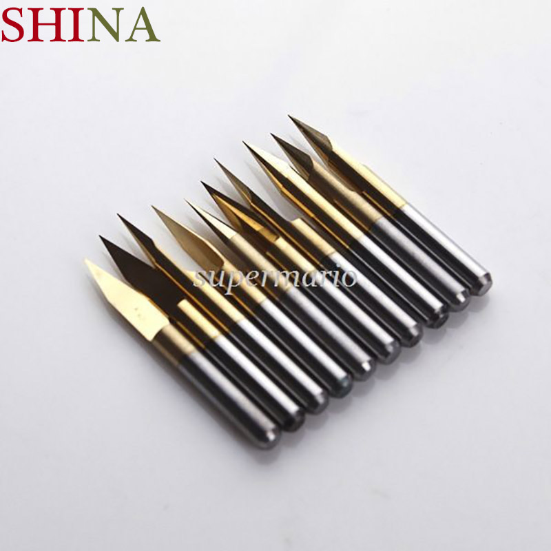 цена на 10pcs 10 x 30 Degree 0.1mm Titanium Milling Cutters Coated Carbide PCB Engraving Bit CNC Router Tool Tip End Mill