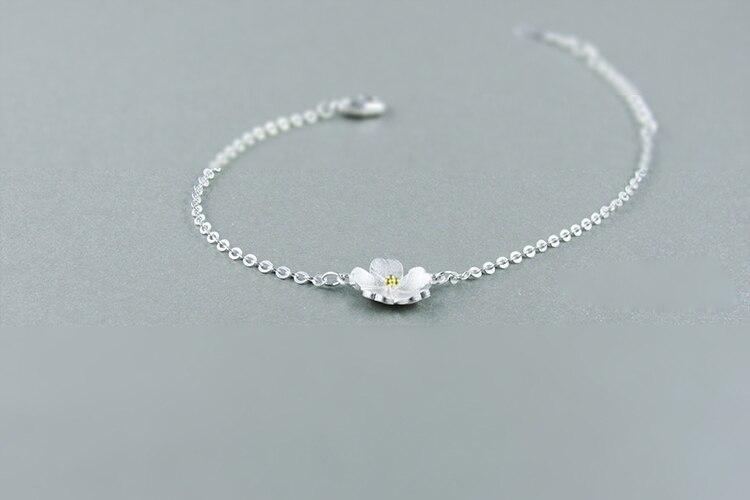 AKOLION Silver Cherry Blossoms Bracelets Charm Flower Bracelets 925 Sterling Jewelry For Girl Women 4