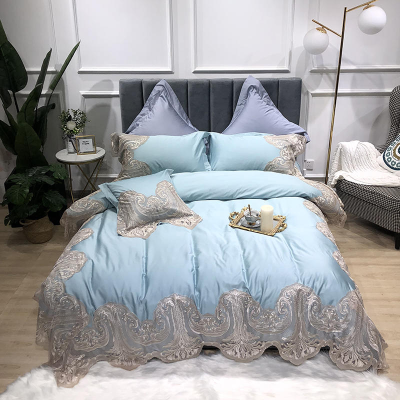 Blue Princess Bedding Set with Chic Wave Lace Queen King Size Girls Bedding include 1Duvet Cover 1pc Bed sheet 2pc pillow shamsBlue Princess Bedding Set with Chic Wave Lace Queen King Size Girls Bedding include 1Duvet Cover 1pc Bed sheet 2pc pillow shams