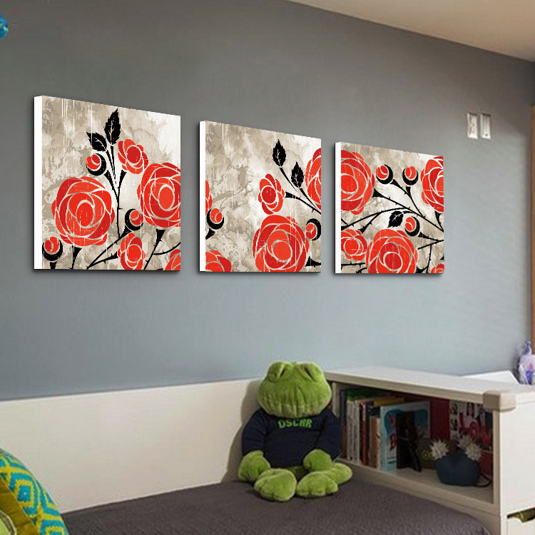 Retro Flower Red Rose Decorative Paintings Frameless Canvas Wall Art Fresco Dining Room In Painting Calligraphy From Home Garden On