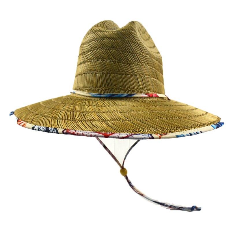 f4611c89af1 CCMHAT Wide Brim Straw Hat For Women Windproof Rope Sombrero Summer Sun Hat  Men Lifeguard Chapeu Feminino Palha De Praia Toca