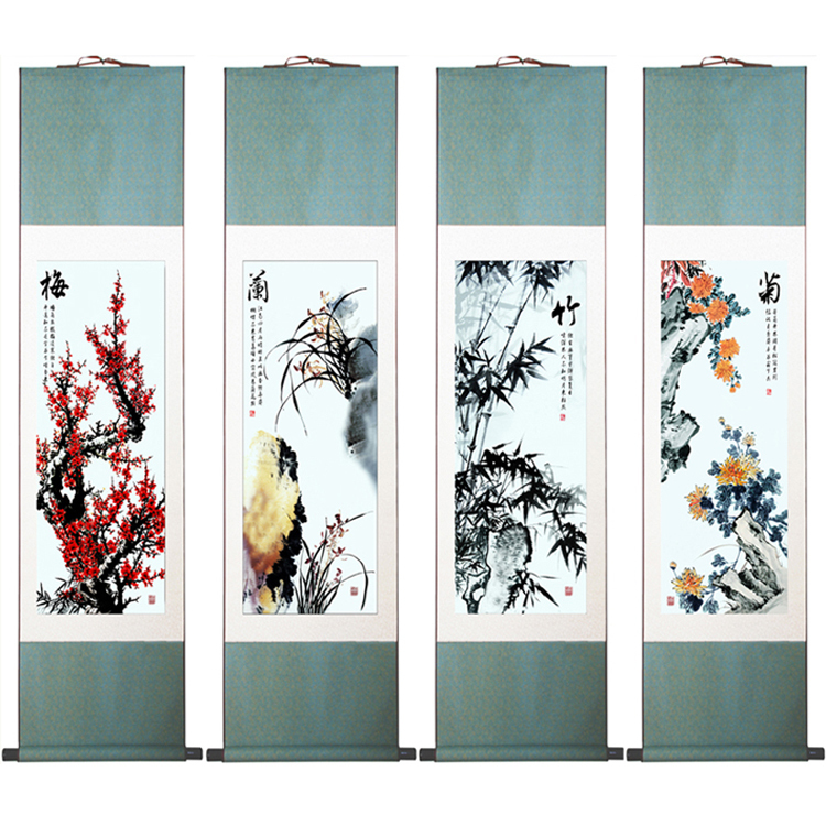 High Quality Chinese Art Painting Merlin Bamboo And Chrysanthemum  Panel Set Abstract Art Painting Cmcm In Painting Calligraphy From Home Garden