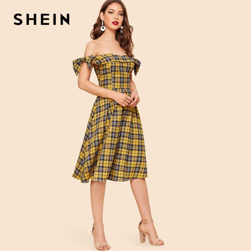 4b437b007a ... SHEIN Vintage Multicolor Bow Detail Plaid Foldover Bardot Off the  Shoulder Fit and Flare Dress Women