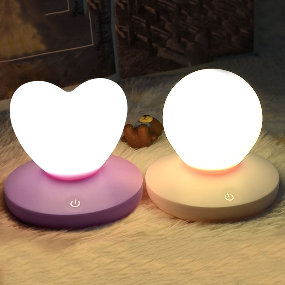 Children Baby Bedroom Night Lamp Cute Heart Silicone LED Night Light Rechargeable Touch Sensor LED Bedside Lights lightmates new year gift cute rabbit led night light multicolor silicone touch sensor for children baby bedside lamp control