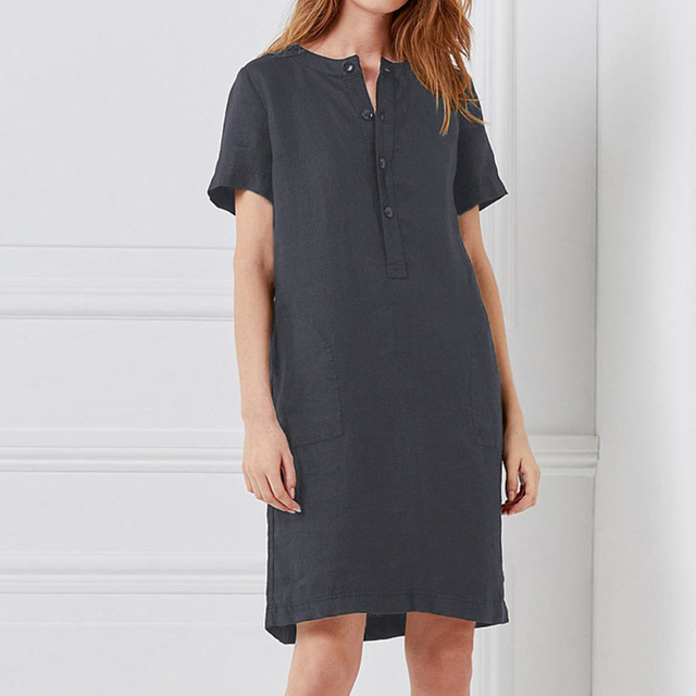 US $12.69 45% OFF|Celmia Plus Size Women Shirt Dress 2019 Summer Female  Vintage Linen Dresses Short Sleeve Button Casual Loose Solid Mini  Vestidos-in ...