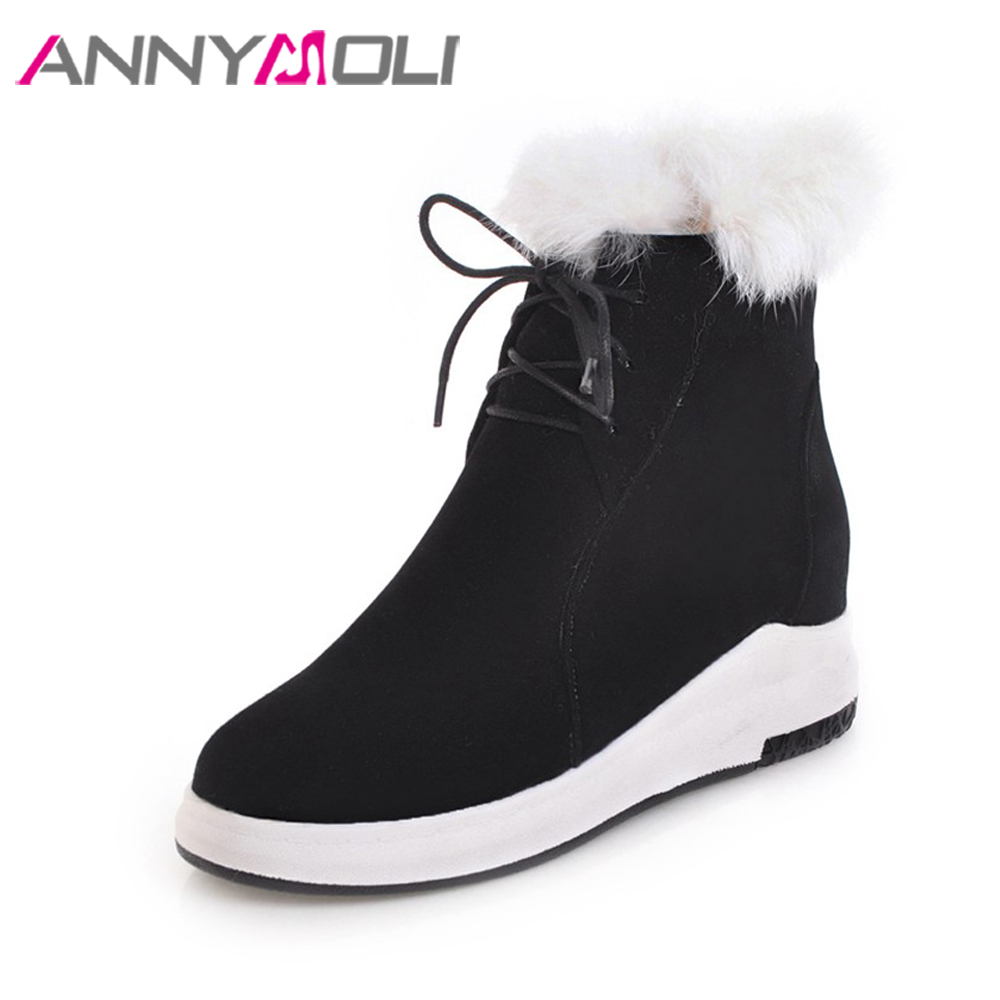 ANNYMOLI Women Snow Boots Real Rabbit Fur Ankle Boots Winter Platform Wedges Boots Lacing Increasing Heel Shoes Female Shoes 43