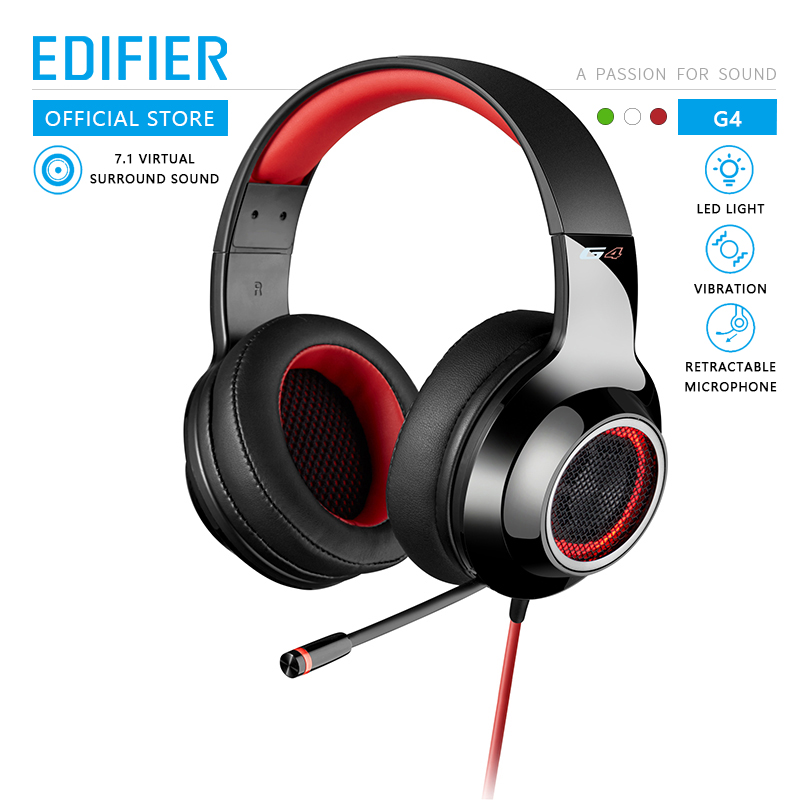 EDIFIER G4 Gaming headset Built-in 7.1 Virtual Surround Soundcard and retractable microphone LED and Metal Mesh Design headphone