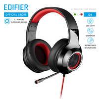 Edifier g4 gaming headset built-in 7.1 virtual surround soundcard e microfone retrátil led e metal malha design fone de ouvido