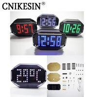 CNIKESIN 블랙 미러 LED 매트릭스 데스크톱 알람 시계 키트 온도 디스플레이 휴일 및 생일 기능