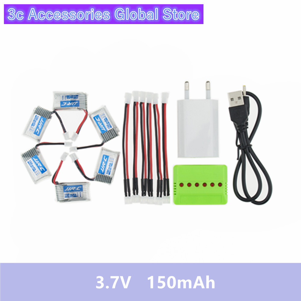6pcs <font><b>150mAh</b></font> <font><b>3.7V</b></font> li-po lipo Battery and x6 EU plug charger For Eachine E010 Furibee F36 JRC H36 NH010 RC Quadcopter Spare Parts image