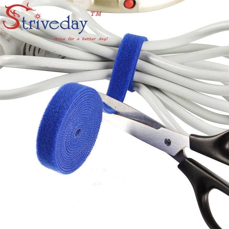5 meters/roll magic tape nylon cable ties Width 4cm wire Earphone Winder velcroe tie 4 colors choose from