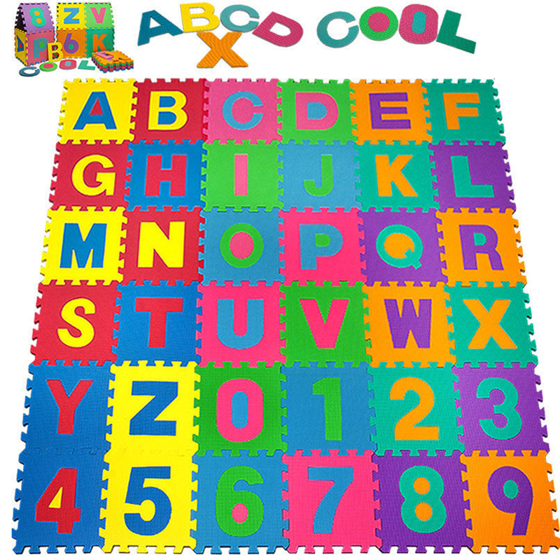 Offres spéciales numéro de mousse de haute qualité + lettres Alphabet ABC tapis de Puzzle de sol tapis enfants jeux de chambre tapis alfombras cadeaux
