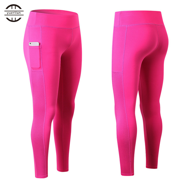 8034fe555ea13 YEL 2017 New Sexy Girls Pocket Gym Long Yoga Pants Sports Trousers Women  Compression Running Pants