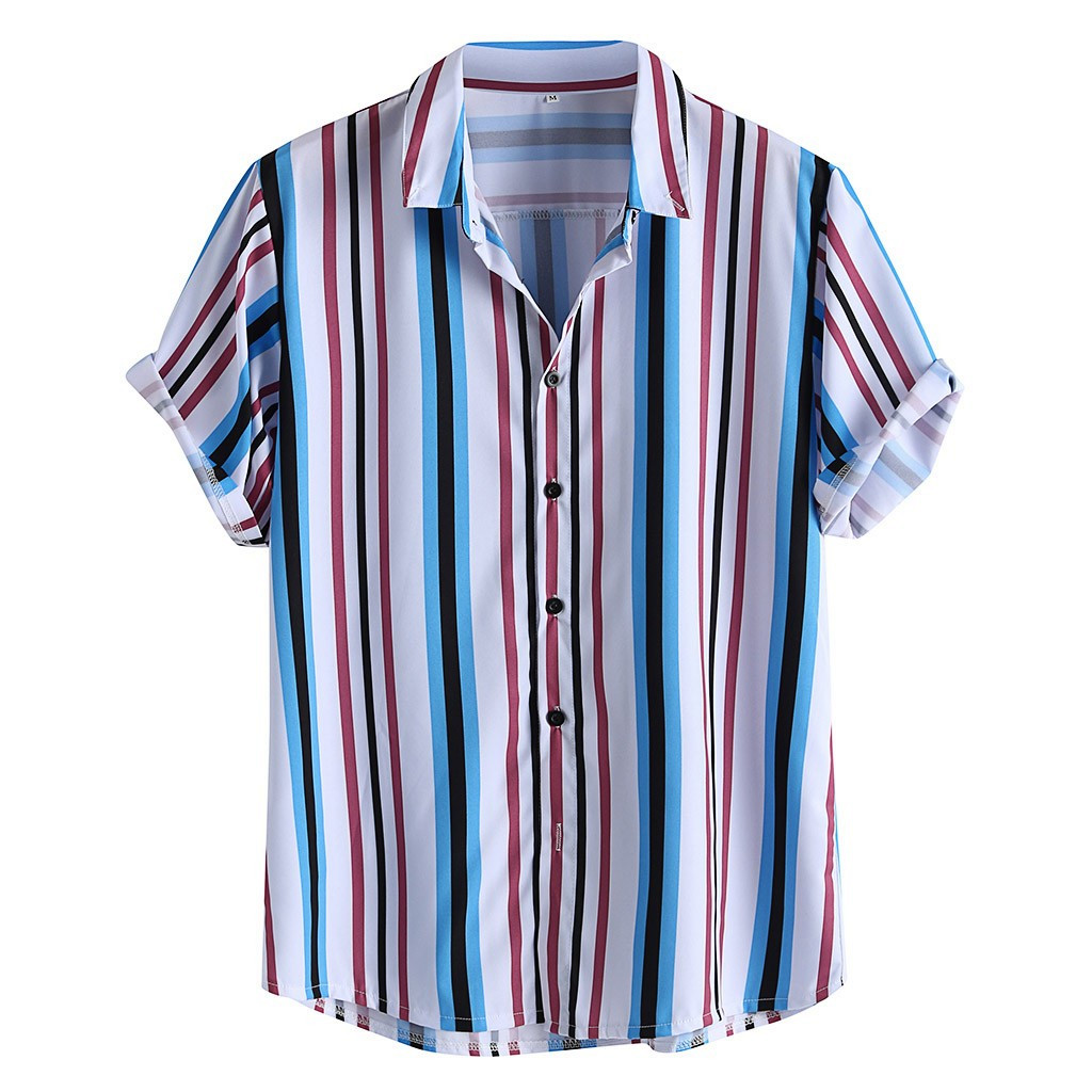 Womail Hot Summer Fashion Shirts Mens Breathable Striped Turn Down Collar Short Sleeve Loose Casual Shirts 2019 New Arrival Рубашка
