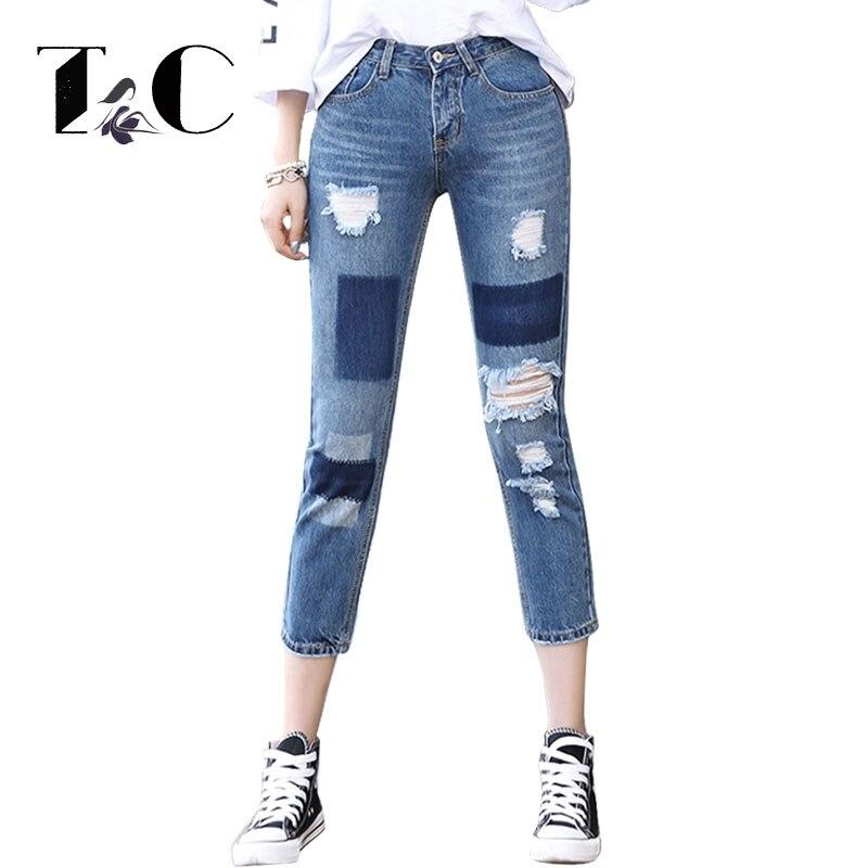 TC 2017 Women Jeans Blue Pencil Nine Pants Denim Strech Holes Ripped High Waist Jeans Women Ripped Jeans