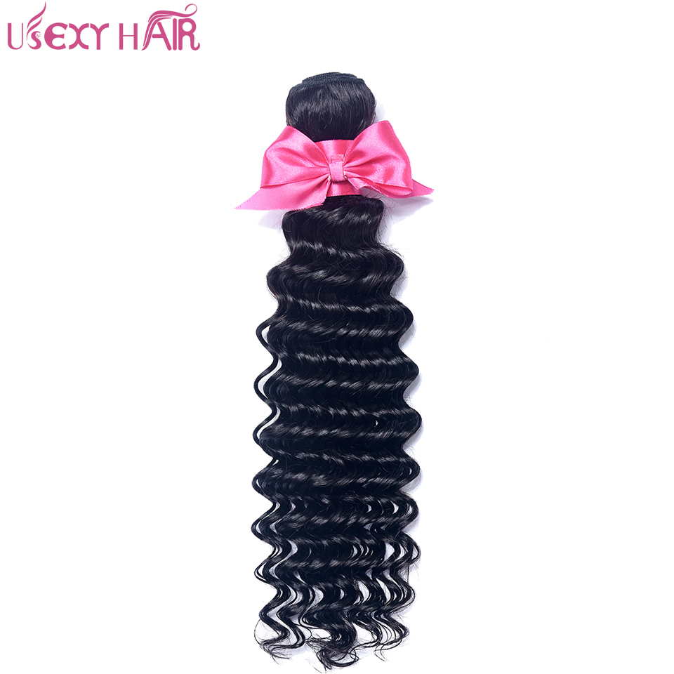 USEXY HAIR Deep Wave Brazilian Hair Weave Bundles100% Human Hair Bundles Natural Color Non-Remy Human Hair 8-28 Inch Can be Dyed