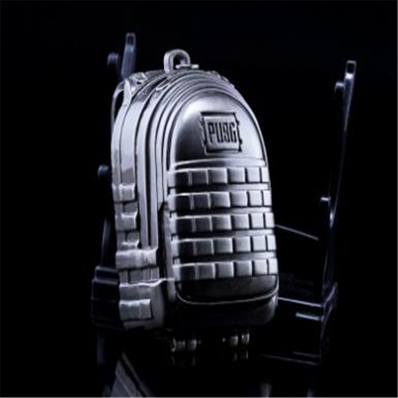 BOOCRE Game PUBG Accessories Keychain Battle Royale Eat Chicken Three Backpack 7cm Alloy Keychain