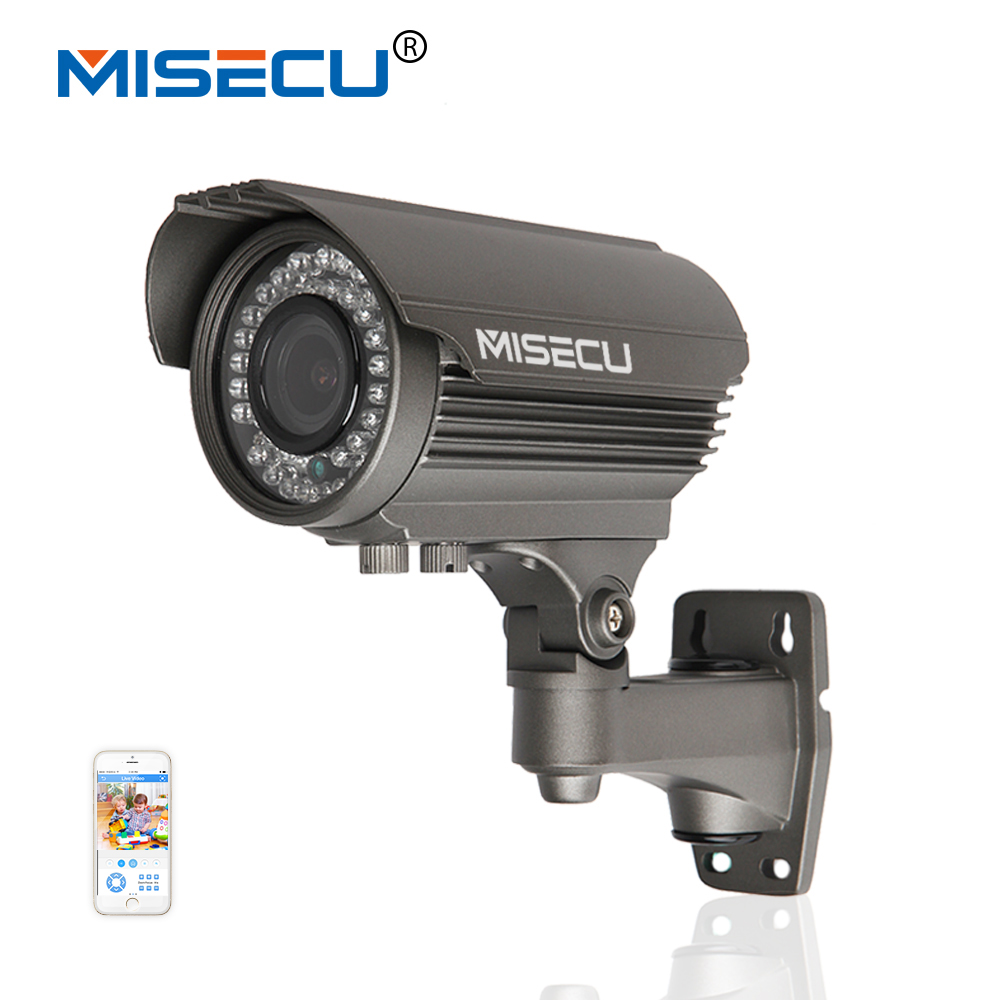 MiSecu 48V POE Camera 2.8-12mm zoom lens HD 720P MP IP Power Over Ethernet Out/Indoor ONVIF Waterproof Night Vision P2P IP cctv