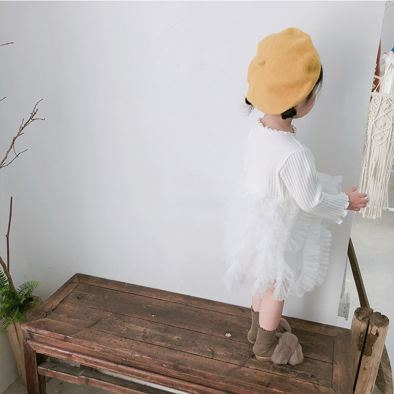 2019 Cotton Long Sleeve Knitted Kids Dresses For Girls Toddler Clothing Baby Girl Drees Tulle Patchwork Grey Pink White Spring 19
