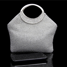 Hot Sale 2016 New Fashion Diamond Evening Bags Beaded Evening Clutch Bag Handmade Pearl Bling Banquet Bag with Shoulder Chain