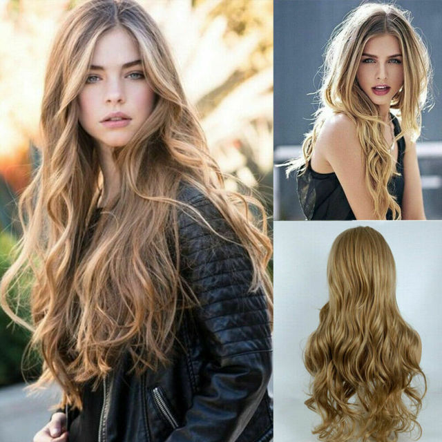 Women Fashion Synthetic Hair Lace Front Natural Wig Body Wavy Full Wig Blonde Party Holiday DIY Decorations 3