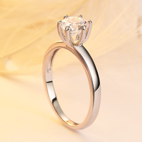 TONGLiN Classic Simple Design 6 Prong Sparkling Solitaire 1ct 5A Cubic Zirconia Forever Wedding Ring Wholesale
