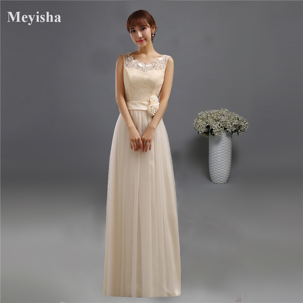 ZJ0126 champagne chiffon around neck formal party   dresses   2015   bridesmaid     dresses   long with lace maxi plus size flower elegant