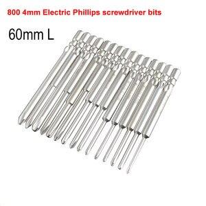 Электрическая отвертка, 15 шт., 800 бит, 60 мм, длина 4 мм, Круглый хвостовик, магнитная крестовая отвертка, инструмент PH00 PH0 PH1 PH2