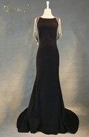 Long Evening Dress 2018 Sexy Mermaid Cap Sleeve Sleeveless Black Women Arabic Formal Evening Gowns