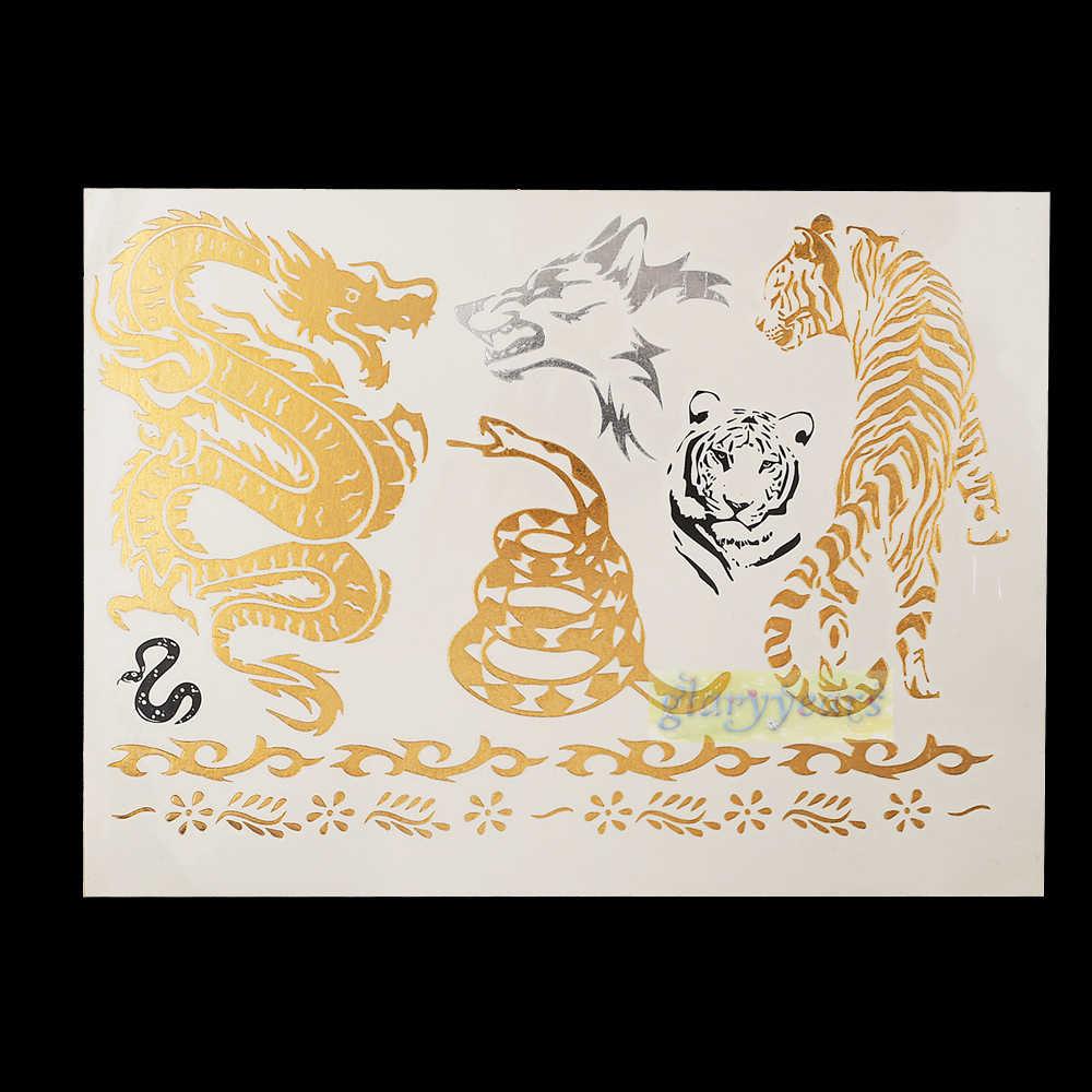 1 шт. горячая вспышка металлическая Водонепроницаемая временная татуировка Золото Серебро Мужчины Женщины хна GH-08 Тигр дракон браслет дизайнерский тату-стикер