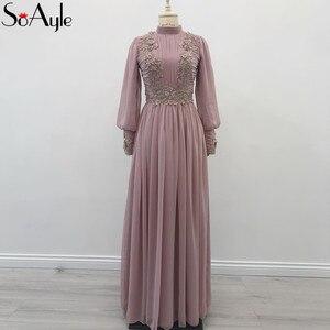 SoAyle Vestido de Madrin 2018 madre Della Sposa Abiti Plus Size Maniche Lunghe Musulmano Dubai Chiffon In Rilievo Abiti Da Sposa Giudizio(China)