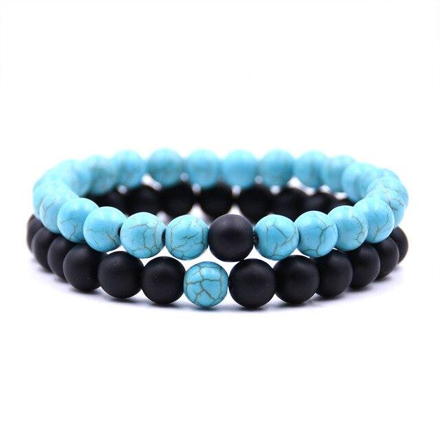 Ziime 2pcs/set Couple Distance Bracelet Set Natural Stone White Black Ying Yang Yoga Beaded Bracelets for Men Women Wristband