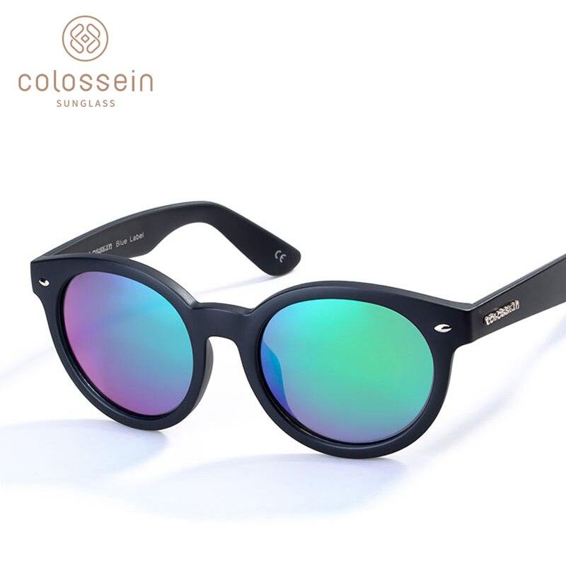 COLOSSEIN солнцезащитные очки Для женщин поляризованные моды солнцезащитные очки в стиле ретро круглый поляризованные линзы очки для взрослых ...