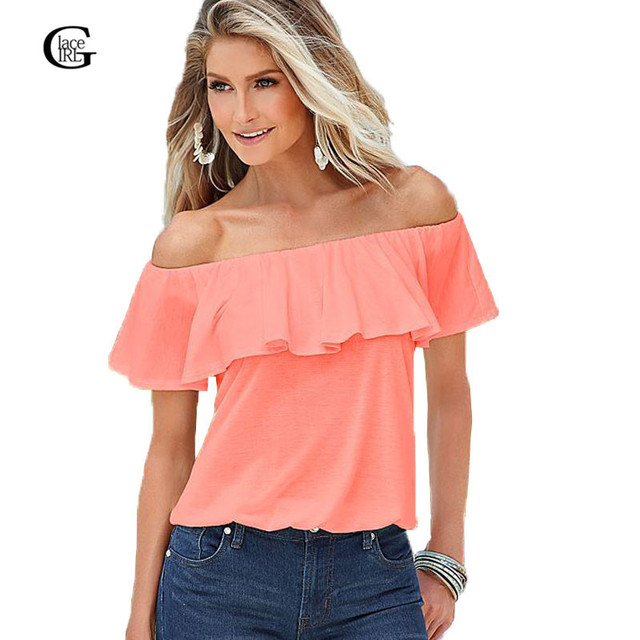 722b169aa8b51 Lace Girl 2018 New Summer Women Tops Cute Slash Neck Ruffles Blouses Shirts  Sexy Off The