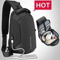 Мужской многофункциональный рюкзак EURCOOL, черный нагрудный рюкзак с разъемом USB для зарядки, сумка для путешествий из водоотталкивающего мат...