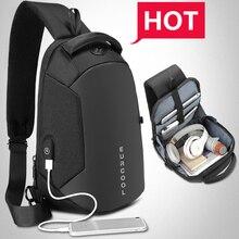Multifunción bandolera hombre bolsos de carga USB pecho paquete corto viaje mensajeros bolso repelente al agua bolso de hombro hombre n1825