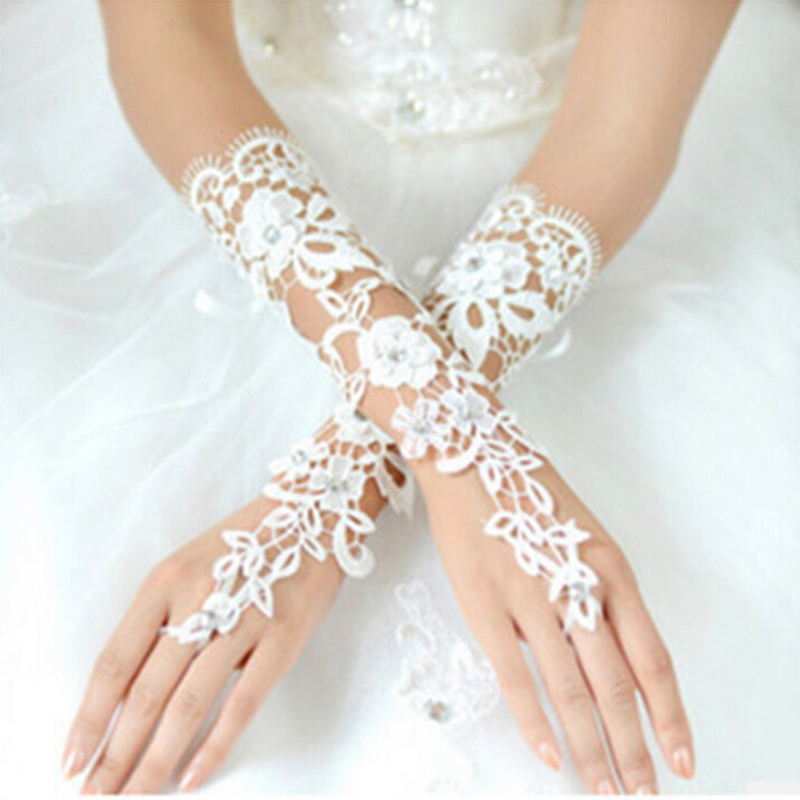 Fansmile Cheap Free Size off White Fingerless Rhinestone Lace Bridal Wedding Gloves Free Shipping Wedding Accessories